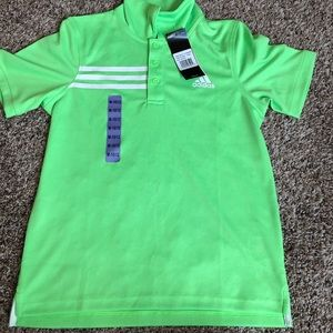 Adidas Polo Shirt Young Unisex New With Tags Green